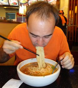 Eating Noodle Soup with Chopsticks